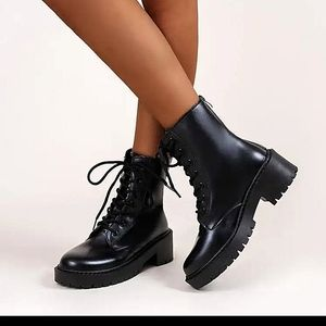 Shein faux leather chunky combat boots